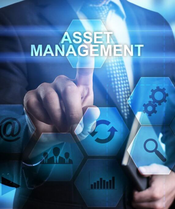 Photo illustration with business man touching a digital screen about asset management